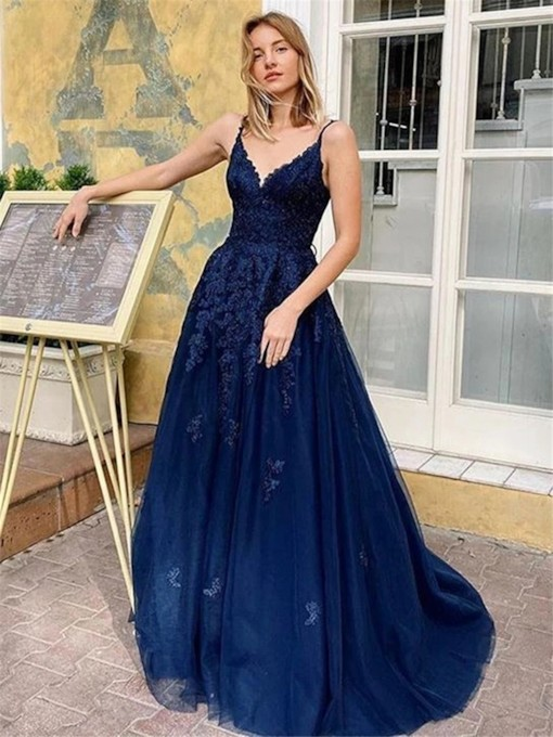 Brush Lace-Up Floor-Length Appliques Straps Prom Dress 2021
