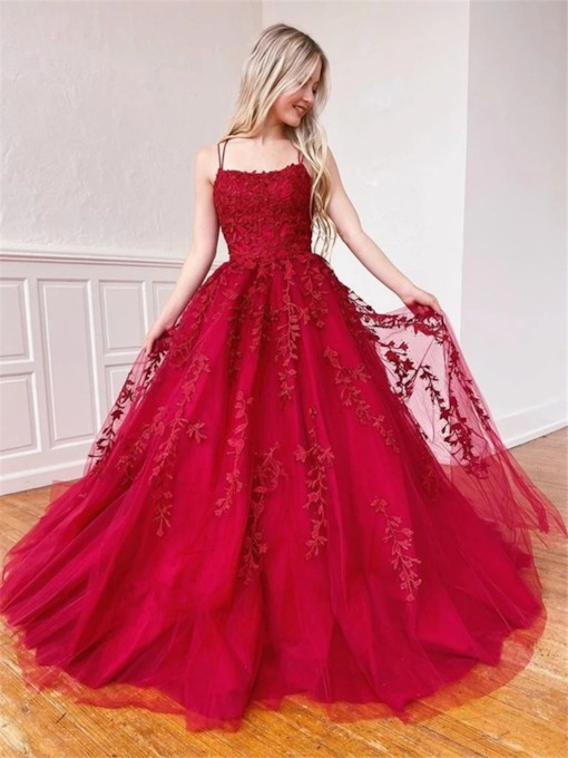 A-Line Floor-Length Appliques Spaghetti Straps Formal Prom Dress 2021