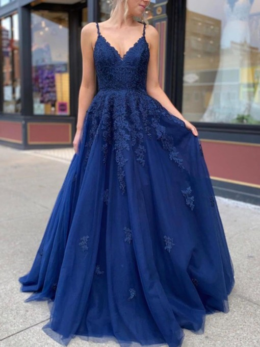 Sleeveless Spaghetti Straps Appliques A-Line Graduation Dress 2020