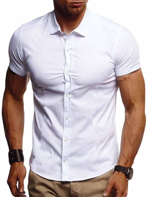 Plain Lapel Casual Slim Short Sleeves Men's Shirt