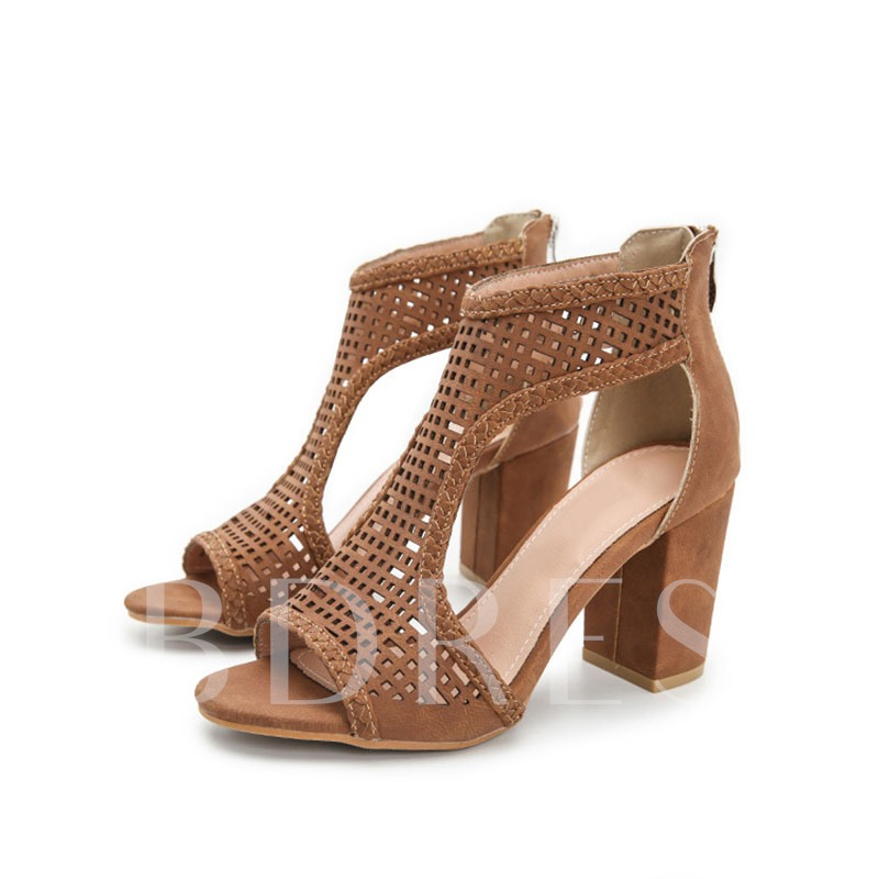 Heel Covering Chunky Heel Zipper Peep Toe Thread Sandals