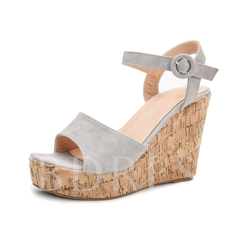 Wedge Heel Line-Style Buckle Peep Toe Plain Sandals