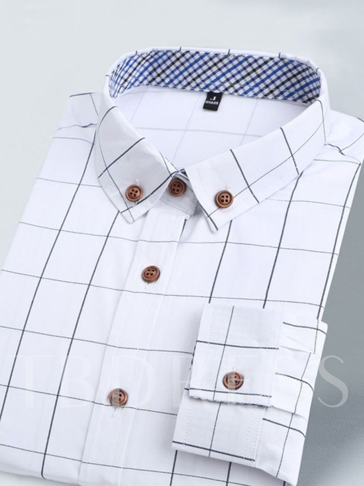 Plaid Casual Lapel Slim Long Sleeves Men's Shirt