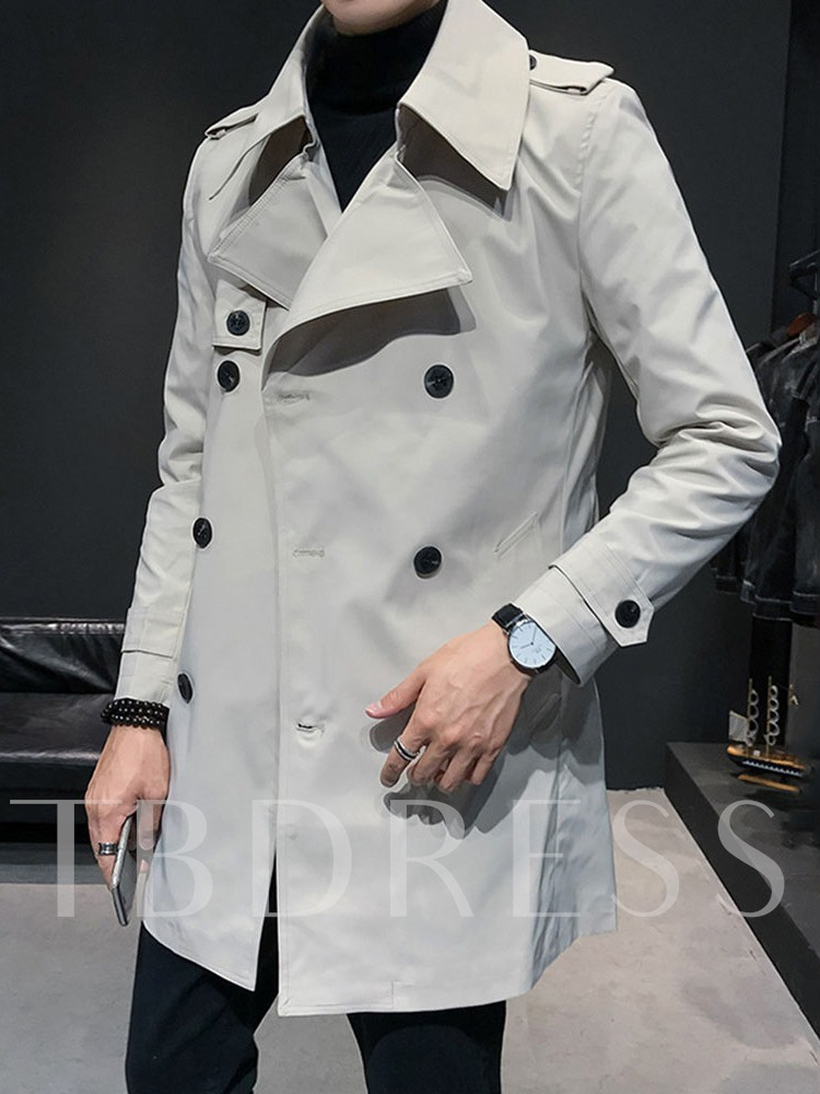 Notched Lapel Mid-Length Plain Casual Men's Trench Coat