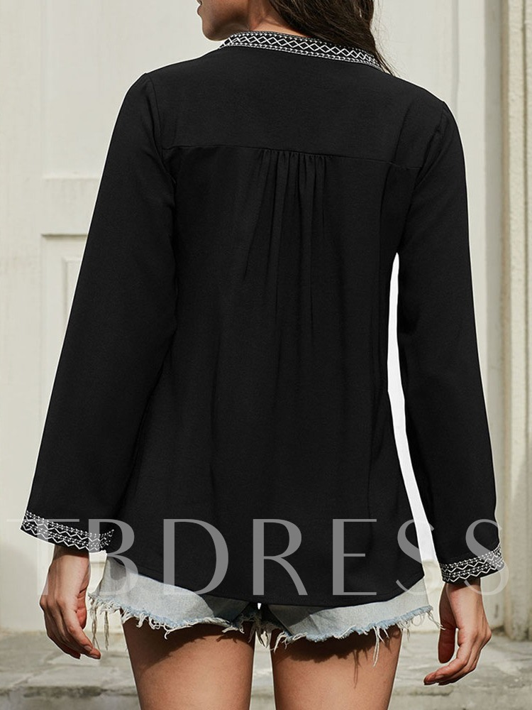 Long Sleeve Loose Casual V-Neck Women's Blouse