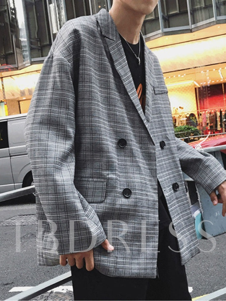 Double-Breasted Casual Loose Plaid Men's leisure Suit