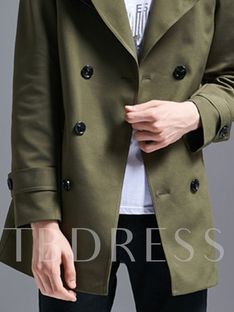 Mid-Length Plain Peter Pan Collar Double-Breasted Men's Trench Coat