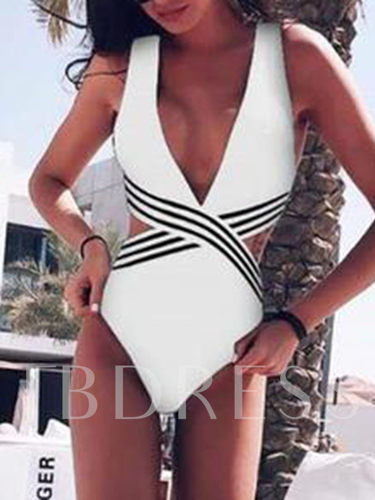 One Piece White and Black Sexy Women's Swimwear
