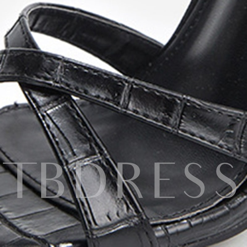Line-Style Buckle Open Toe Chunky Heel Casual Sandals