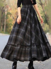 Plaid A-Line Ankle-Length Print Western Women's Skirt