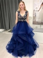 Ball Gown Appliques Floor-Length Scoop Formal Prom Dress