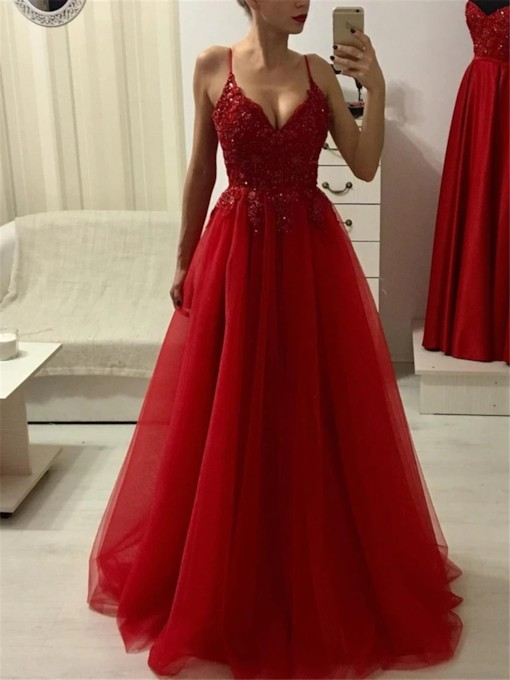 Spaghetti Straps A-Line Appliques Floor-Length Formal Dress 2021
