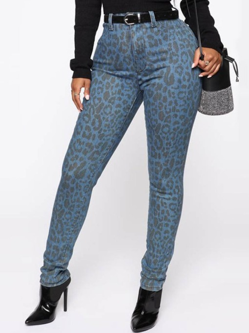 Print Leopard Skinny Full Length Women's Casual Pants