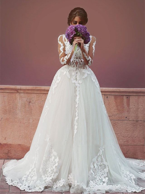 Floor-Length A-Line Appliques Long Sleeves Tulle Hall Wedding Dress 2021