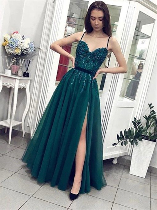 Appliques A-Line Floor-Length Spaghetti Straps Evening Dress 2021