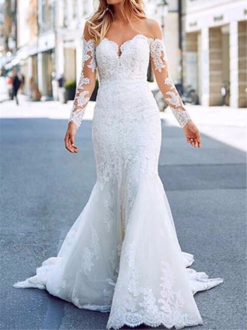 Floor-Length Trumpet Long Sleeves Button Hall Wedding Dress 2021