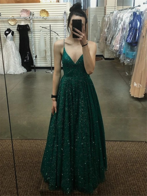 Spaghetti Straps Sequins Floor-Length A-Line Prom Dress 2021