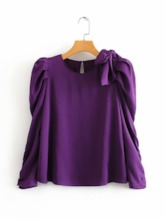 Round Neck Plain Standard Pleated Bowknot Women's Blouse
