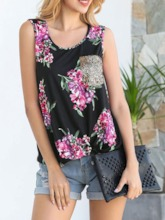 Print Polyester Mid-Length Floral Color Block Women's Tank Top