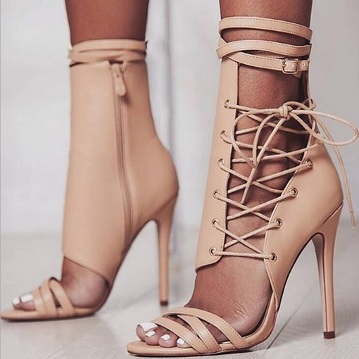 Open Toe Heel Covering Zipper Stiletto Heel Thread Sandals