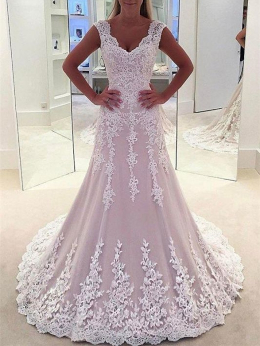 Appliques Lace Tulle Sleeveless Hall Wedding Dress 2021