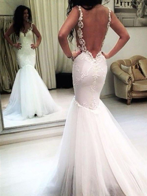 Tulle Floor-Length Appliques Mermaid Hall Wedding Dress 2021