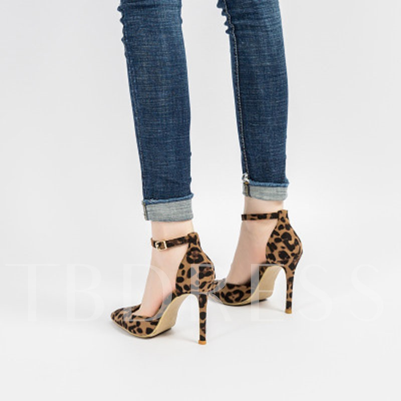 Heel Covering Line-Style Buckle Pointed Toe Stiletto Heel Thread Sandals