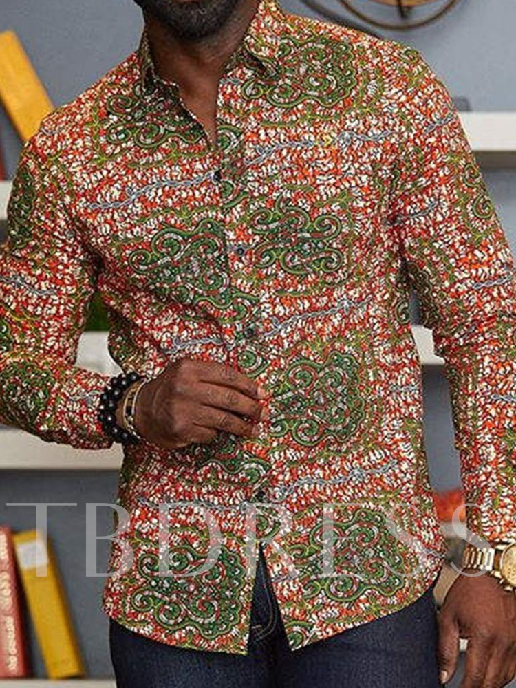 Print Slim Casual Lapel Single-Breasted Men's Shirt