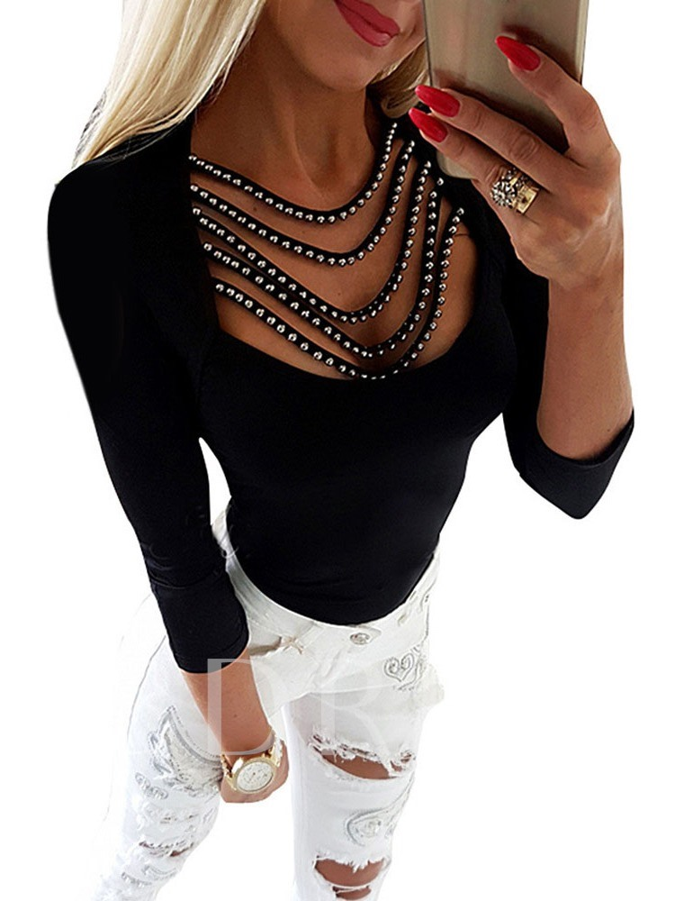 Standard Long Sleeve Slim Tassel Rivet Women's T-Shirt