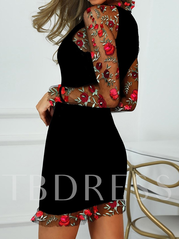 Elegant Party/Cocktail See-Through Stand Collar Floral Long Sleeve Women's Dress