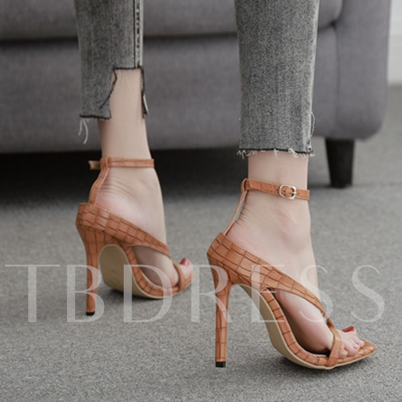 Stiletto Heel Toe Ring Line-Style Buckle Thread Sandals