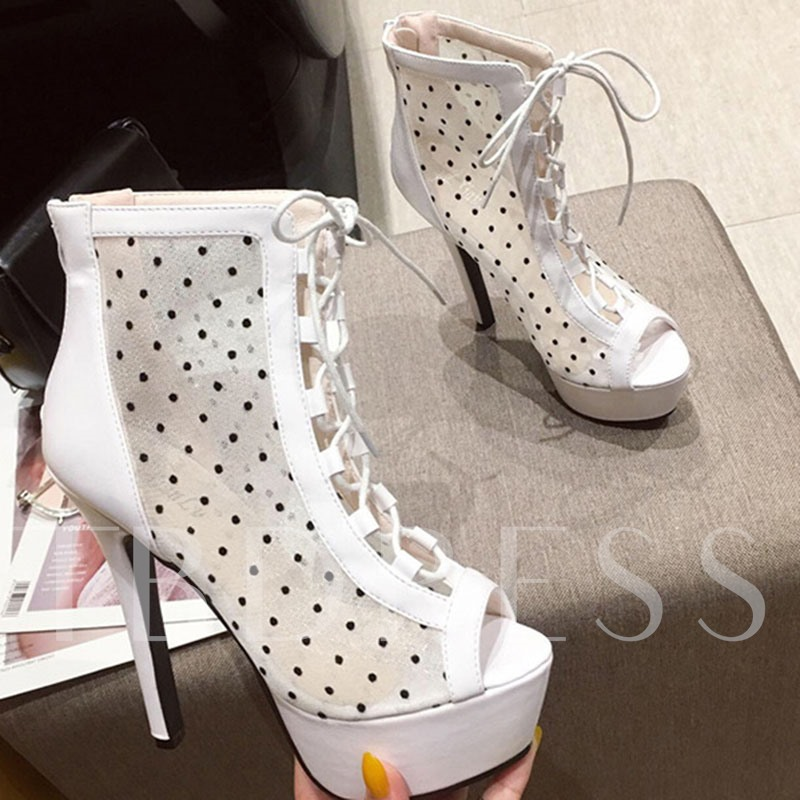 Back Zip Peep Toe Stiletto Heel Lace-Up Boots