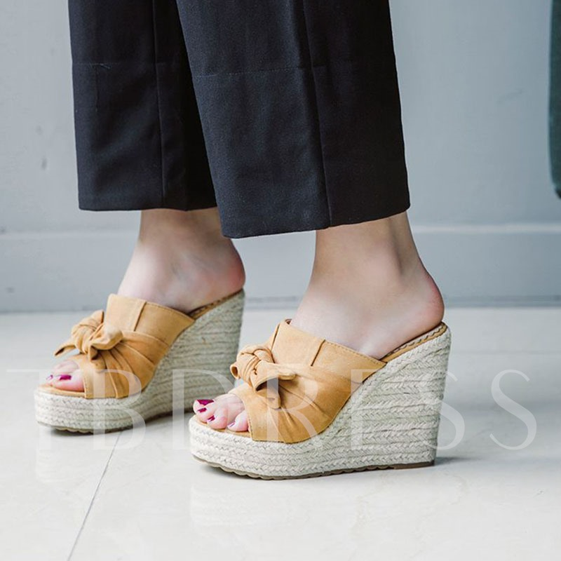 Bow Flip Flop Wedge Heel Slip-On Plain Slippers
