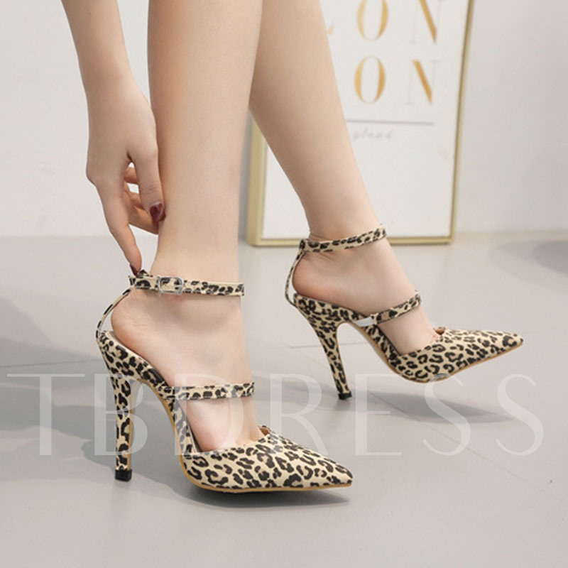 Pointed Toe Stiletto Heel Line-Style Buckle Fashion Casual Sandals