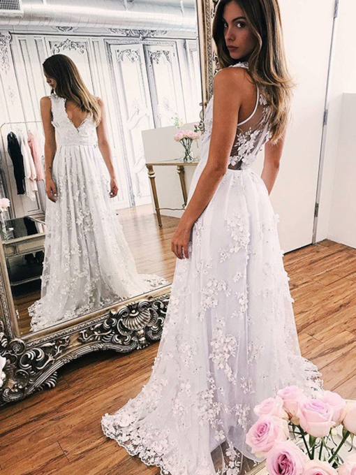V-Neck Floor-Length Appliques Sleeveless Outdoor Wedding Dress 2021