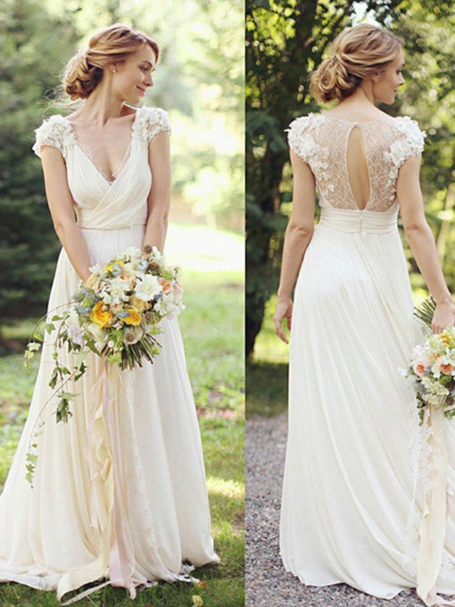Short Sleeves Floor-Length Flowers V-Neck Beach Wedding Dress 2021