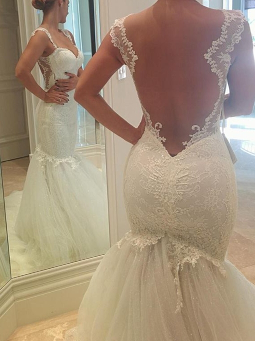 Straps Lace Floor-Length Sleeveless Mermaid Outdoor Wedding Dress 2021