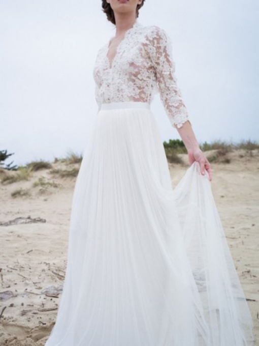 Tulle Floor-Length A-Line Appliques V-Neck Lace Beach Wedding Dress 2021