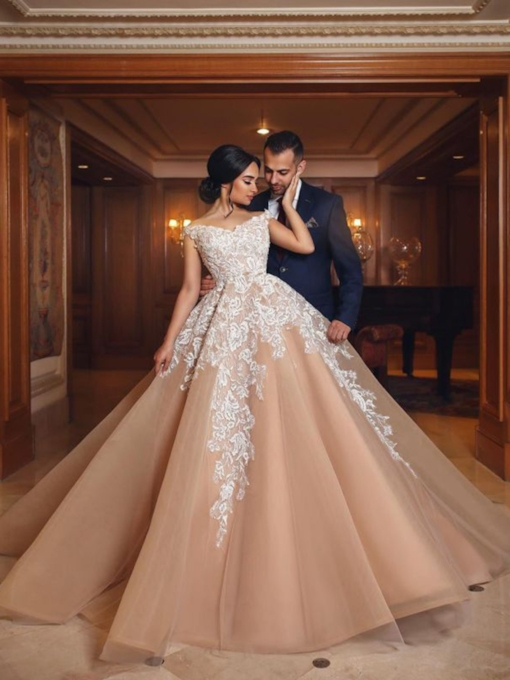 A-Line Court Floor-Length Off-The-Shoulder Church Wedding Dress 2021