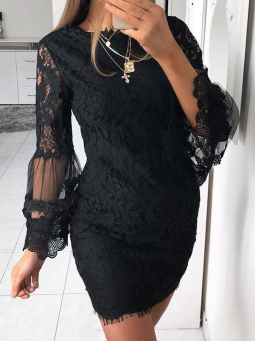 Long Sleeve Above Knee Round Neck Lace Hollow Floral Women's Dress