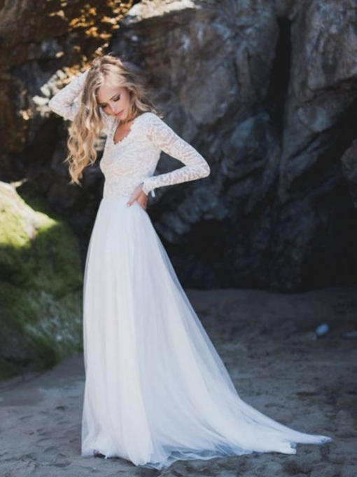 Lace Floor-Length A-Line Long Sleeves Beach Wedding Dress 2021