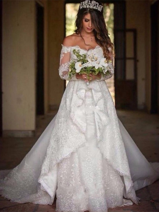 Floor-Length Long Sleeves A-Line Watteau Hall Wedding Dress 2021
