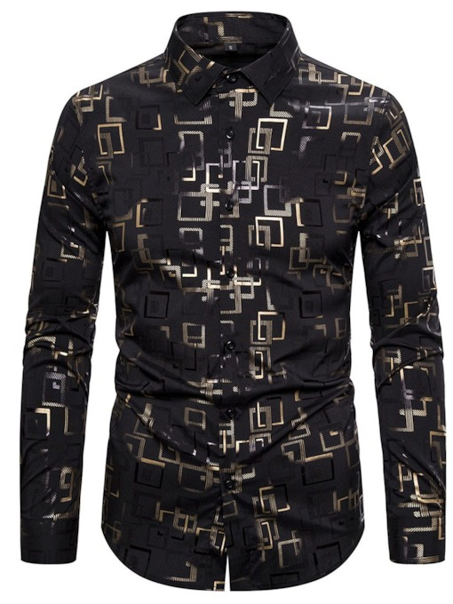 Geometric Print Lapel Casual Single-Breasted Men's Shirt
