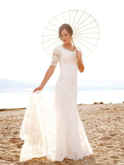 Sheath Court Short Sleeves Floor-Length Church Wedding Dress 2021