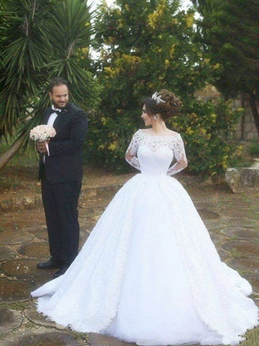 Floor-Length Ball Gown Cathedral Appliques Church Wedding Dress 2021