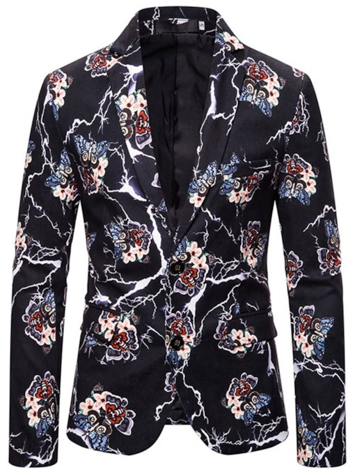 Slim Single-Breasted Floral Casual Men's leisure Suit