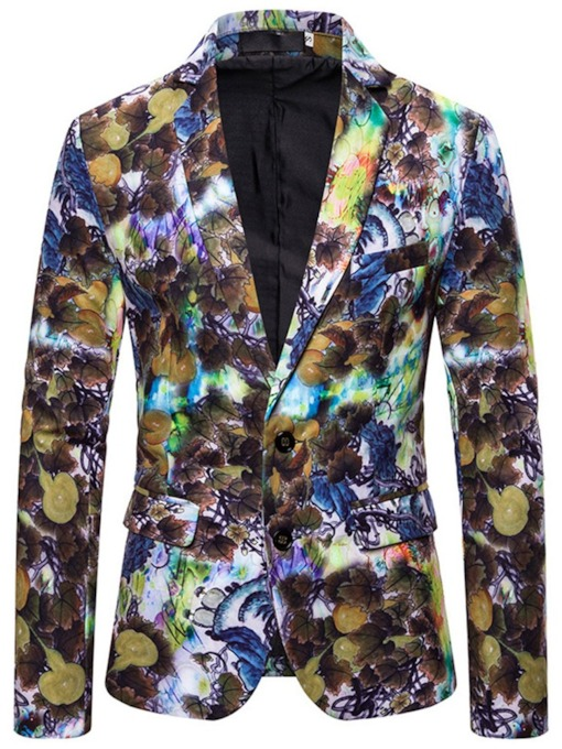 Fashion Notched Lapel Print Single-Breasted Men's leisure Suit