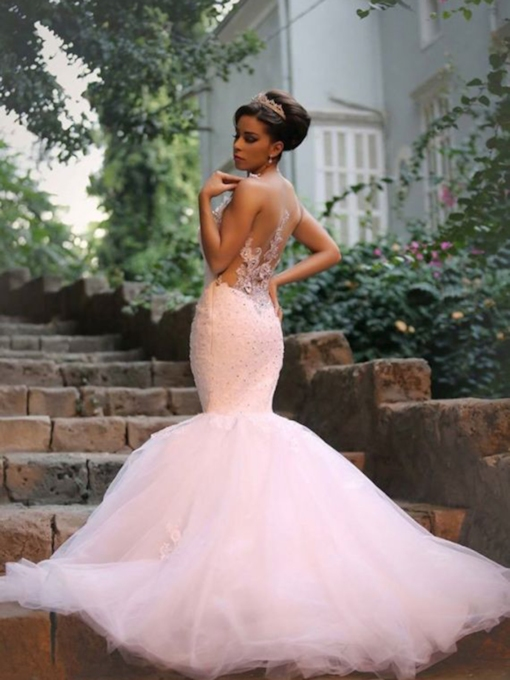 Floor-Length Mermaid Straps Church Wedding Dress 2021