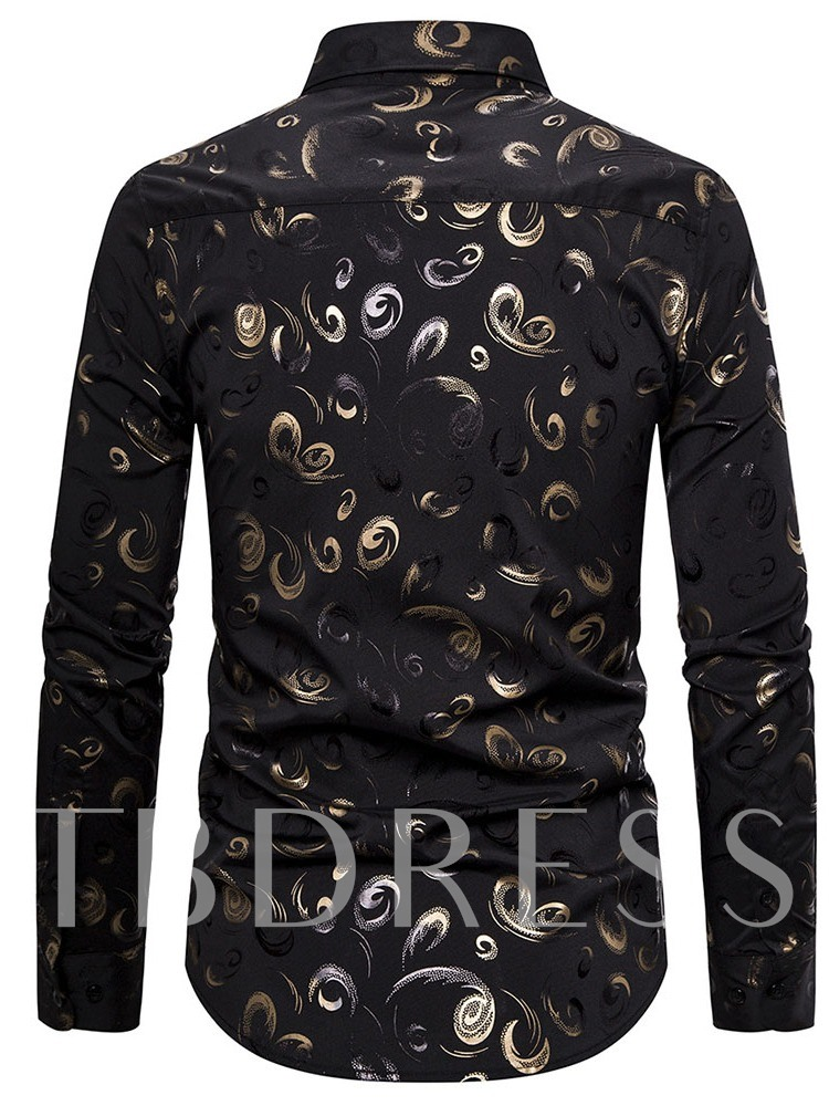 Lapel Casual Print Slim Regular Men's Shirt