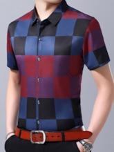 Plaid Casual Print Slim Lapel Single-Breasted Men's Shirt